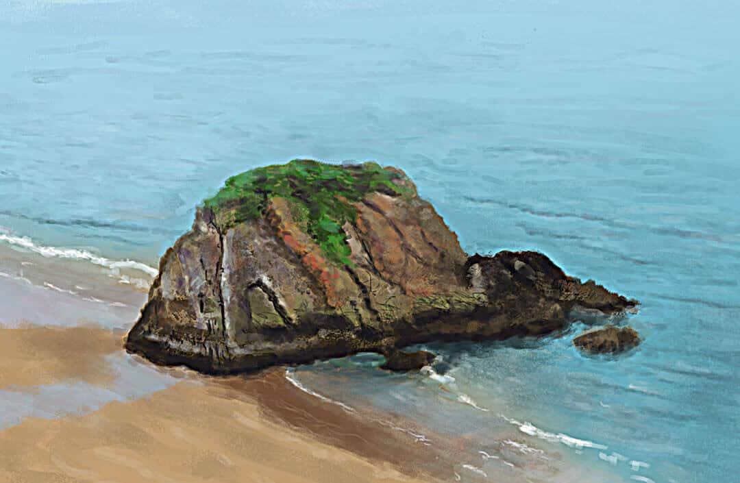 digital-painting-goscar-rock-tenby-wales-lg