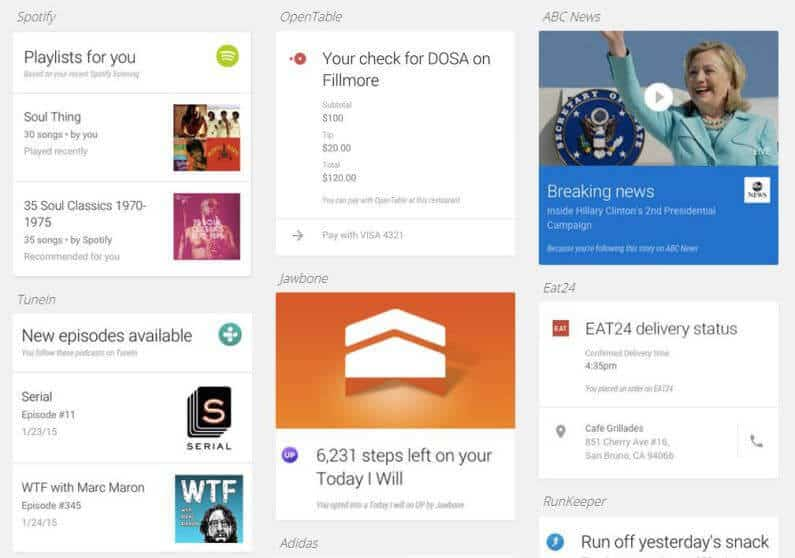 card based webdesign example courtesy of google now