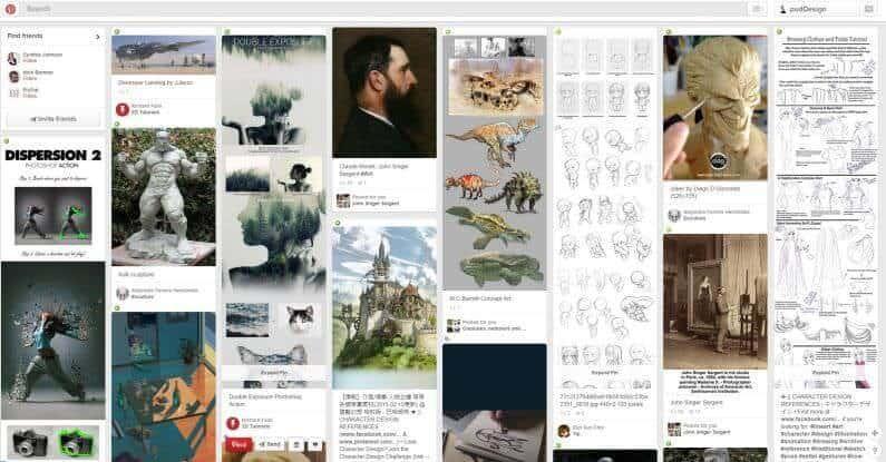 grid based webdesign example courtesy of pinterest