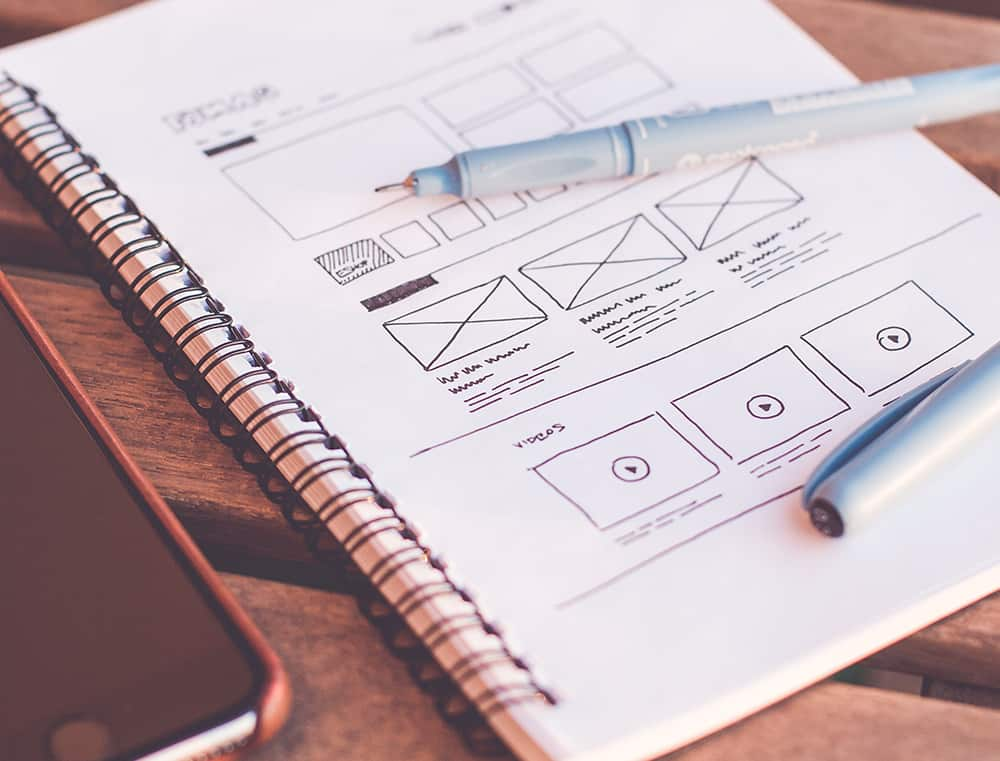 wireframe website on notepad
